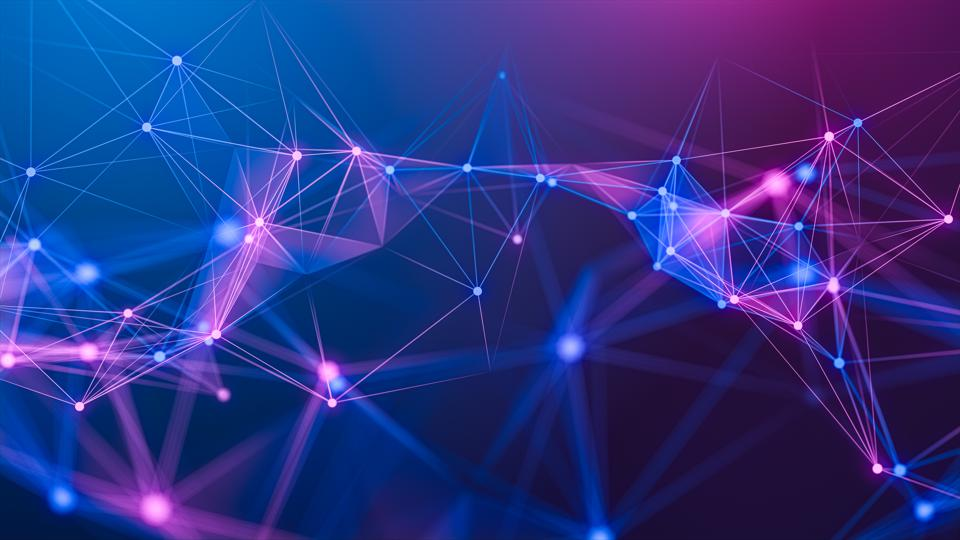 illustration Geometric abstract background with connected line and dots,Futuristic digital background for Business Science and technology