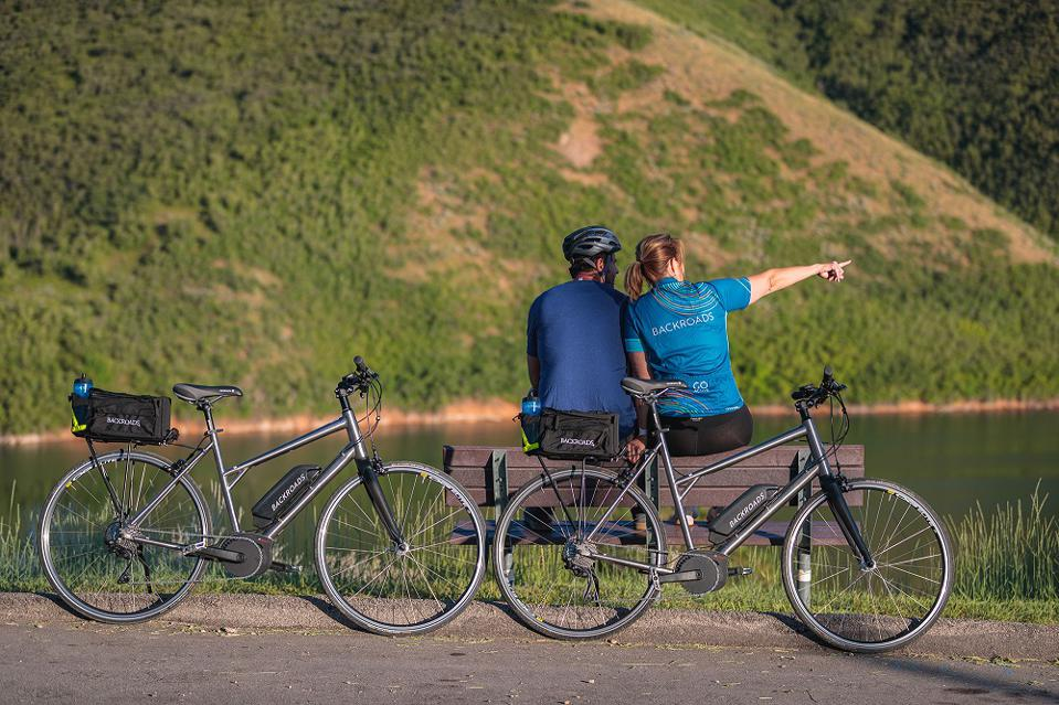Two travelers on Backroads trip with e-bikes