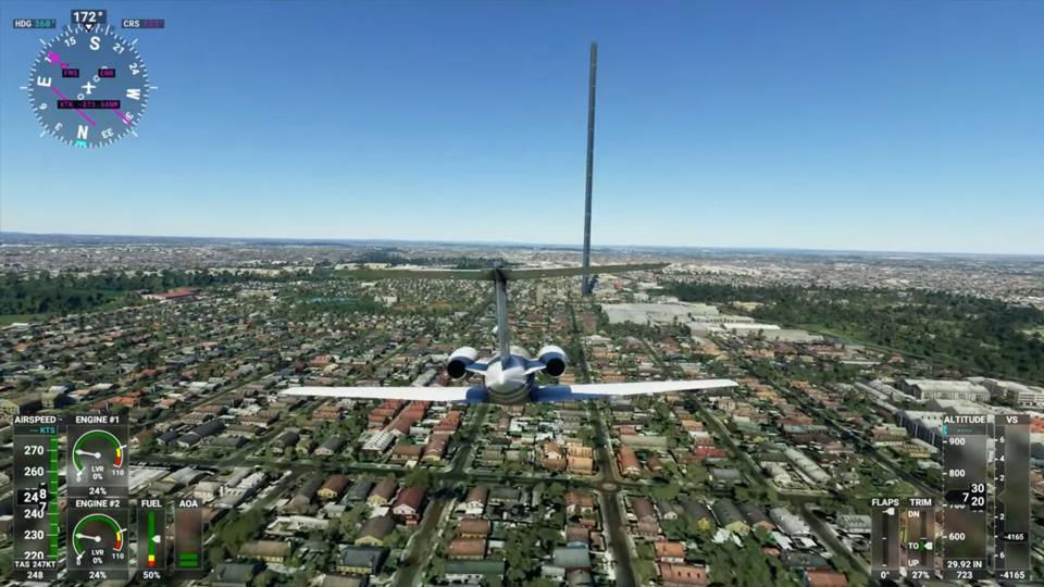 A screenshot from Microsoft Flight Simulator 2020.