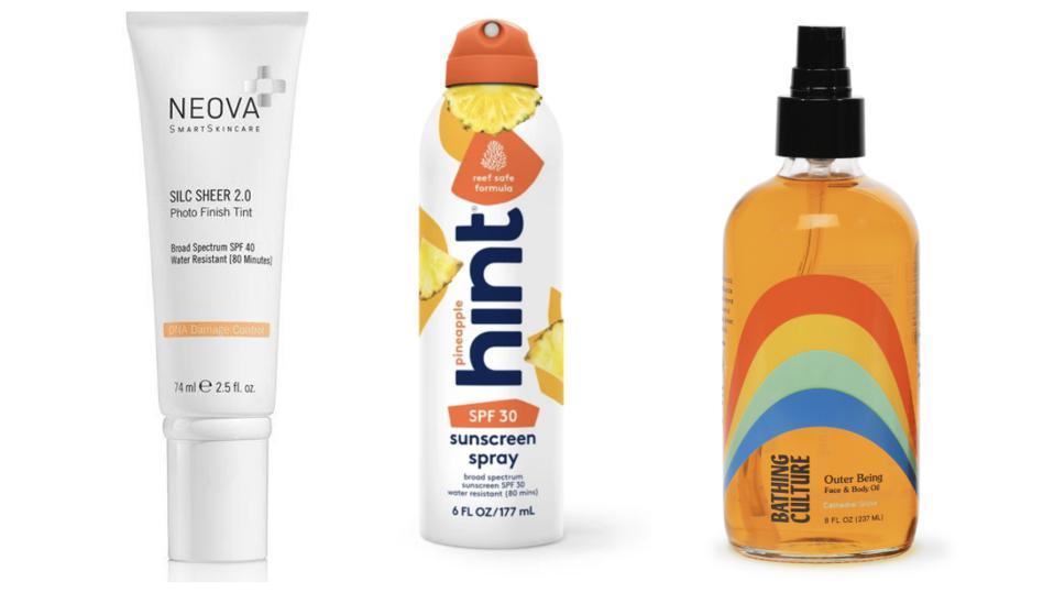 Neova DNA Damage Control Silc Sheer 2.0, $51, vickimorav.com; Hint Pineapple sunscreen, $17.99, drinkhint.com; Bathing Culture Outer Being Face & Body Oil, $81, bathingculture.com