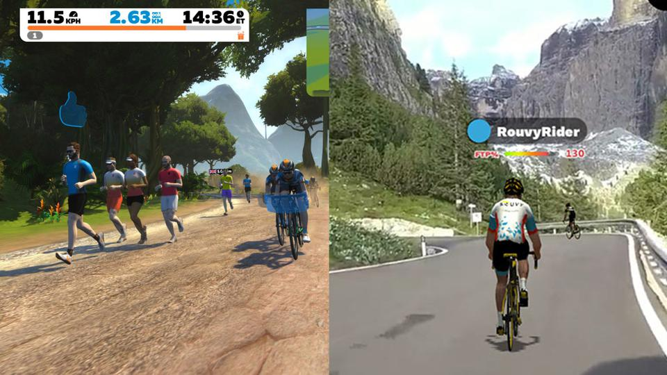 Screenshots from Zwift and Rouvy.