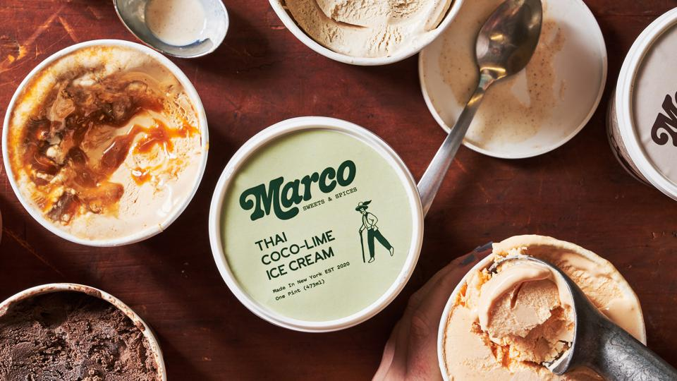 Marco Sweets & Spices Spicy PB Caramel, Thai Coco-Lime and Aztec Chocolate ice cream from above