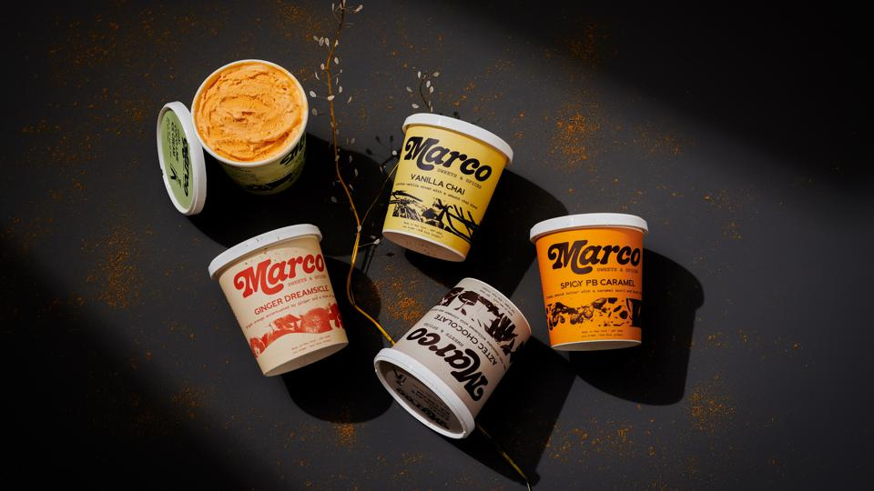 Marco Sweets & Spices pints on a black background