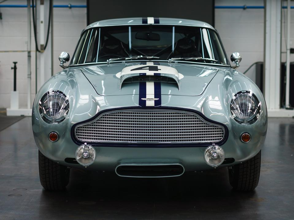 Front view of the Aston Martin DB4 GT Continuation classic car