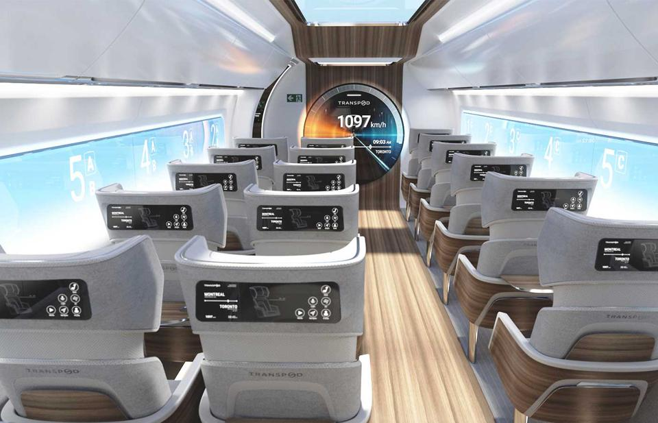 A mockup of the interior of the proposed TransPod hyperloop transport system.