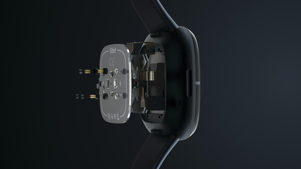 The sensors of the new Fitbit Sense.