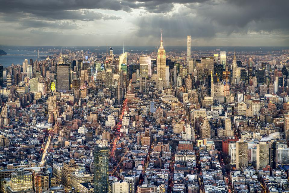 New York. Panoramic view of downtown district at sunset