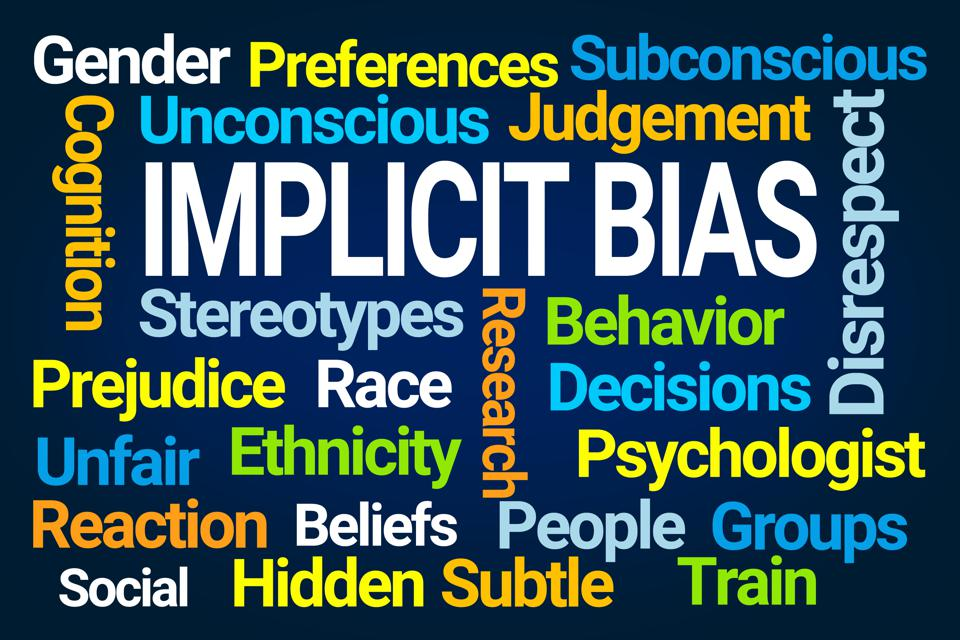 Word cloud showing all the ramifications of implicit bias.