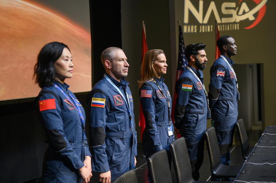 Want to go to Mars? Netflix will take you there with its new drama 'Away'. L-R: Vivian Wu, Mark Ivanir, Hilary Swank, Ray Panthaki and Ato Essandoh. Netflix new series coming September 2020.