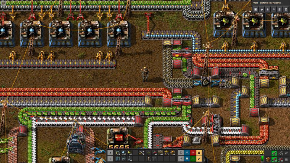 A screenshot shows Factorio video game in action.
