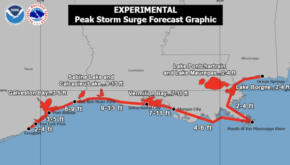 a map showing the forecast storm surge on coastal areas from hurricane Laura.