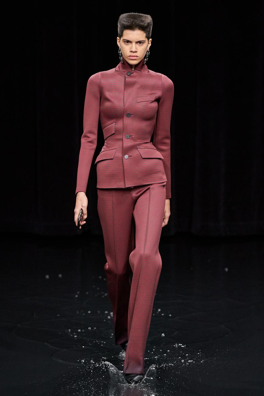 Balenciaga: Red/Brown Jacquard Jersey Waist-trainer Single Breasted Jacket  & Jacquard Jersey Bonded Pants
