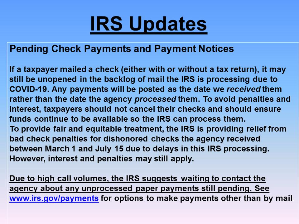 IRS update