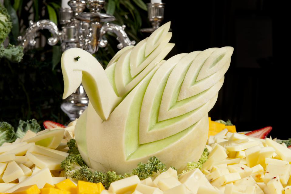 Swan carved from honeydew melon