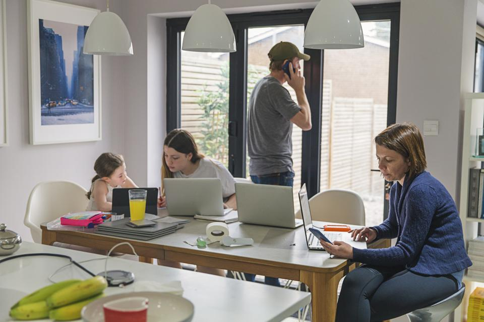 Parents and children all working from home