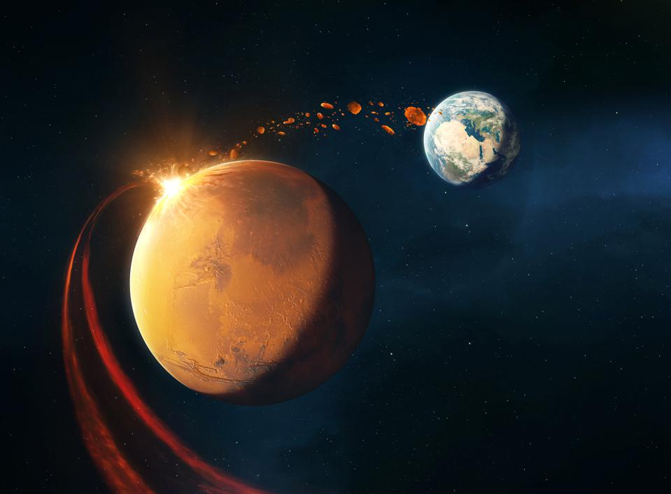 ″Lithopanspermia″ involves a comet or asteroid striking a planet, in this case Mars, which then ejects biologically-rich matter into space, eventually settling on Earth.