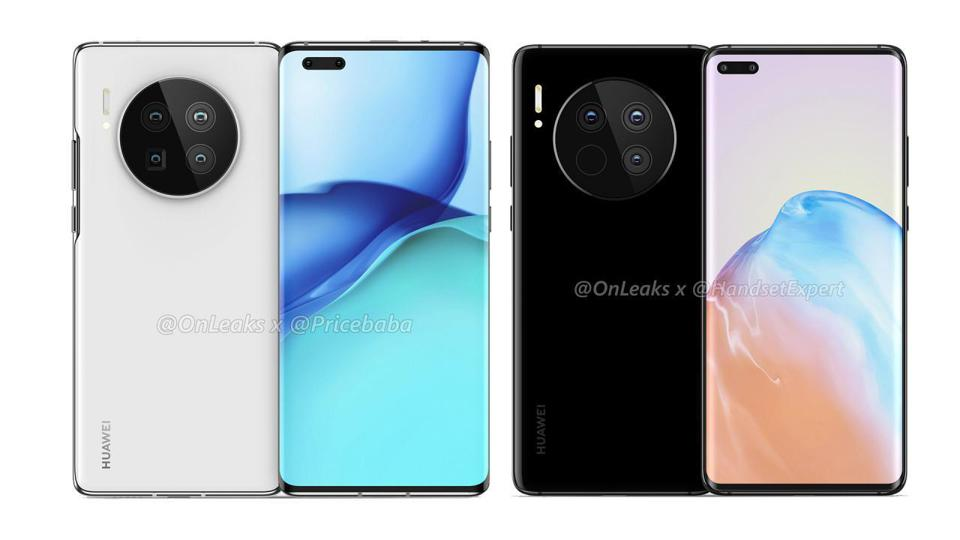 The alleged design for the next Huawei Mate 40 Pro phone.
