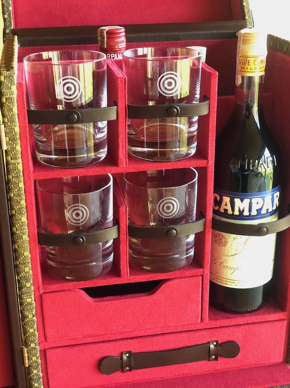 Baccarat made WM Brown branded glasses for the Negroni Trunk