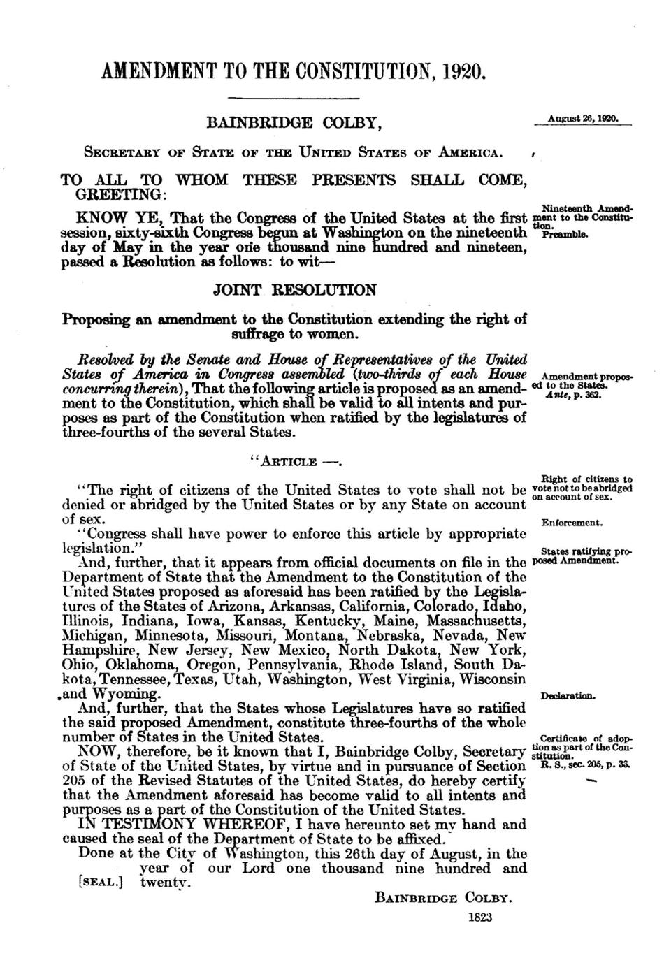 19th Amendment to the Constitution, certified 1920