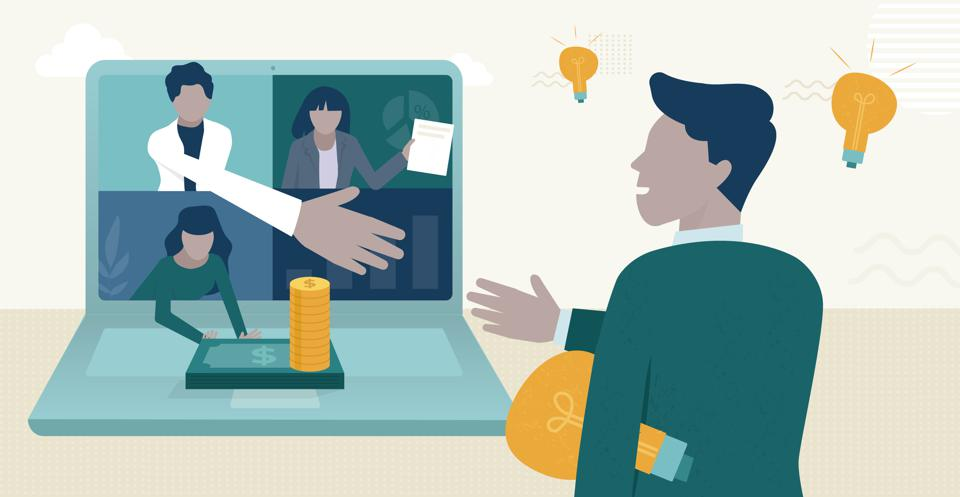 Image of an investor reaching out to an entrepreneur via a videoconference