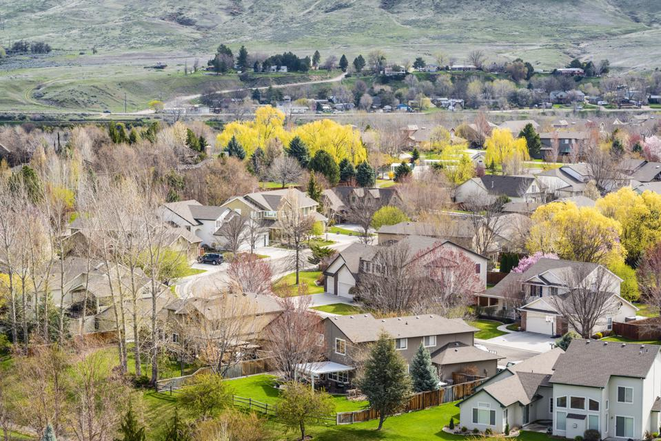 View of Boise neighborhood in spring