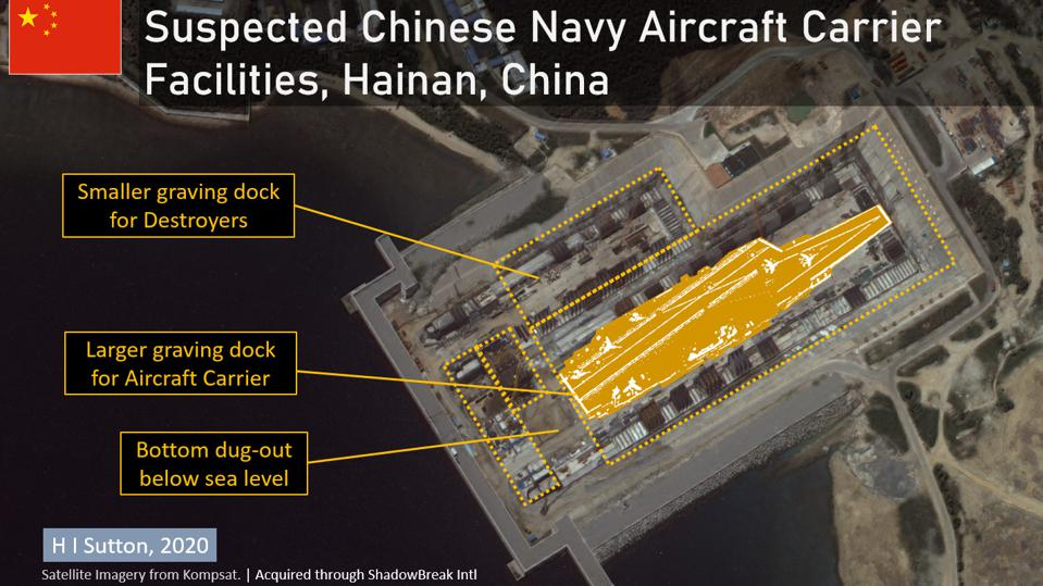 The new suspected dry dock is large enough for China's aircraft carriers