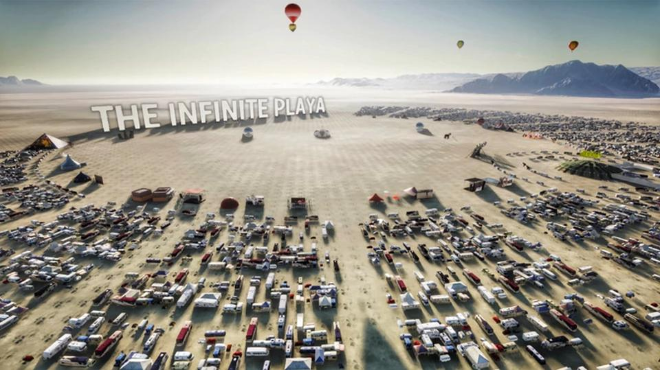 Tiny digital vehicles form a circle around a virtual Burning Man Playa.