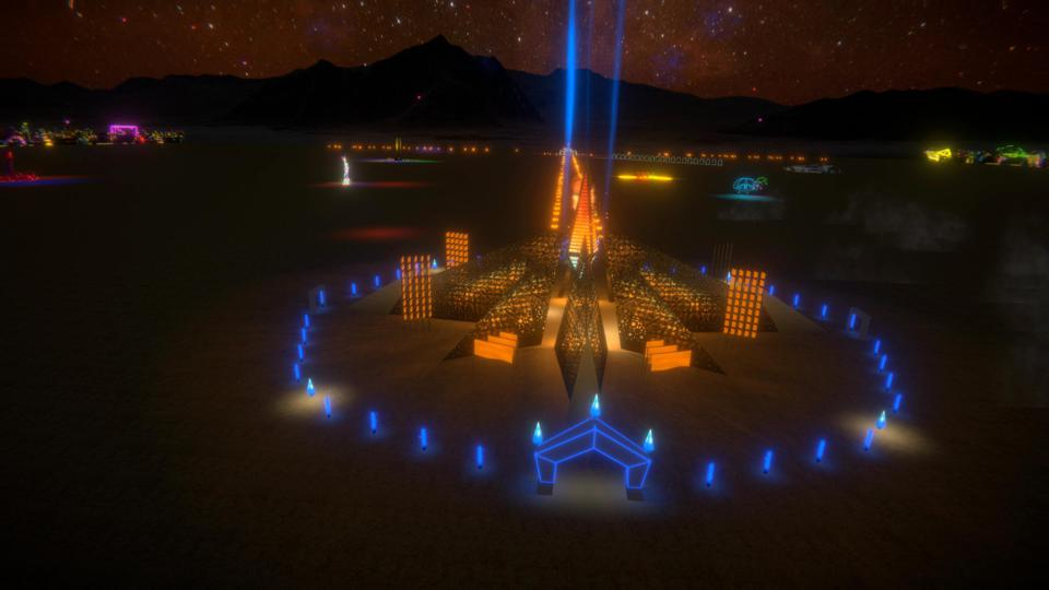 Futuristic wooden structure lit up on the nighttime desert floor.