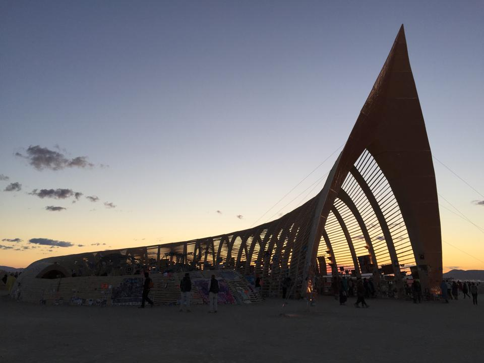 Dawn breaks over the cornucopia-shaped temple from Burning Man 2015.