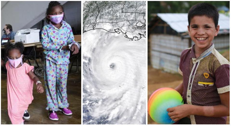 Children being evacuated from Hurricane Laura, Hurricane Laura, and a Bangladeshi boy.