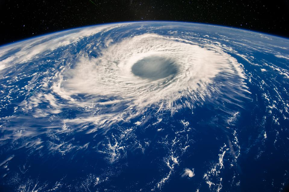 Hurricane eye on Earth viewed from space. Satellite view. Elements of this image furnished by NASA. Typhoon Nabi, 2005.