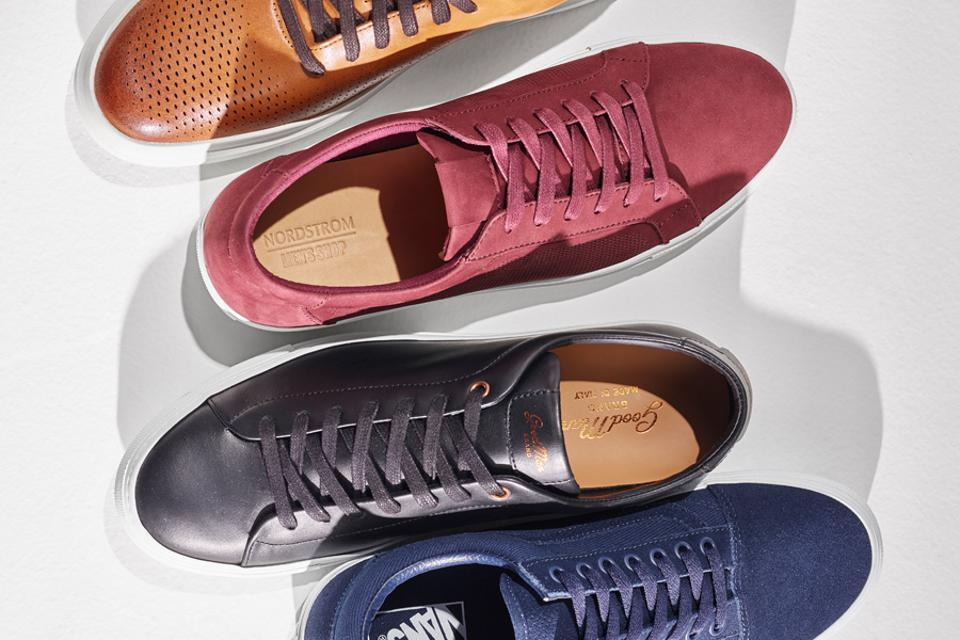 Leather sneakers in a line
