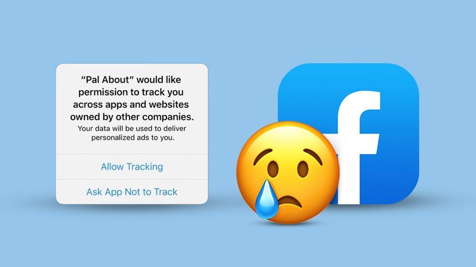 Sad emoji over Facebook app icon and developer warning of tracking user data across apps