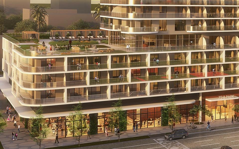 Rendering of large wraparound balconies planned in Miami Beach