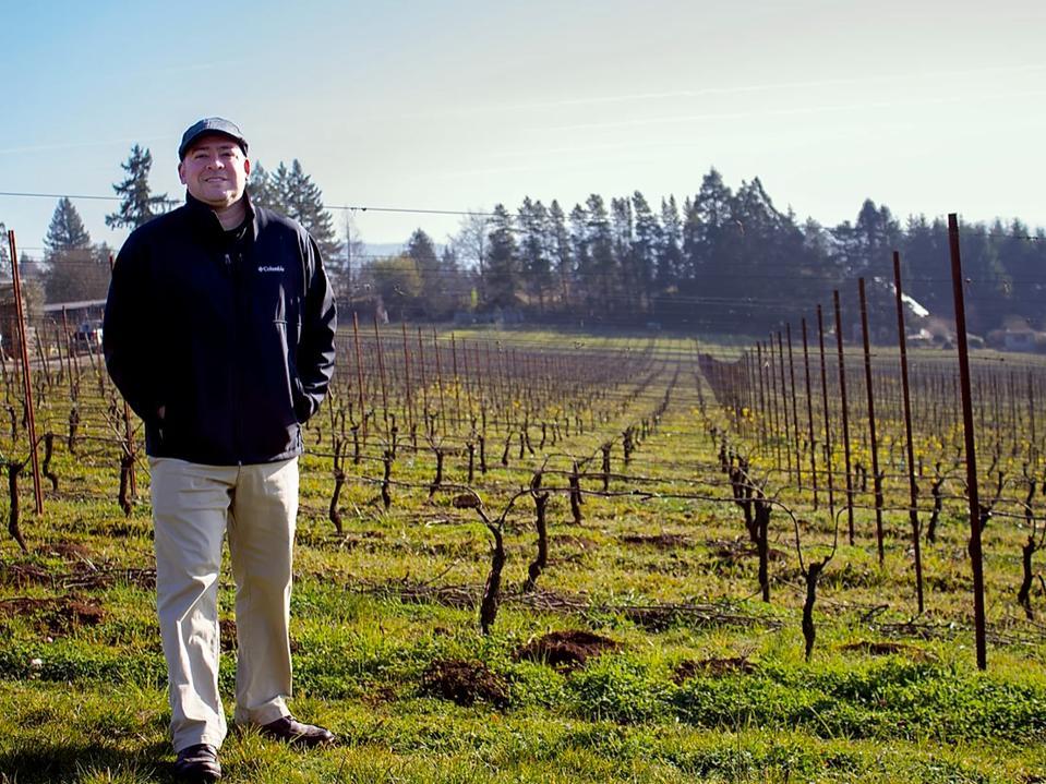 Willamette Valley winemaker in the vineyard