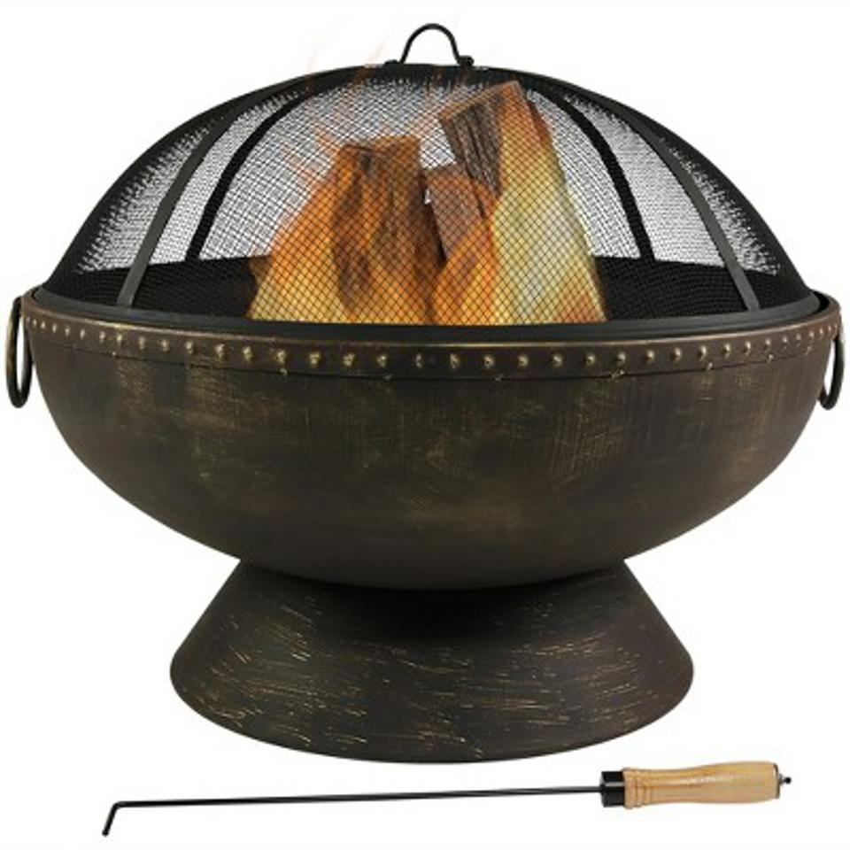 Sunnydaze Decor Large Outdoor 30″ Wood Burning Fire Pit Bowl