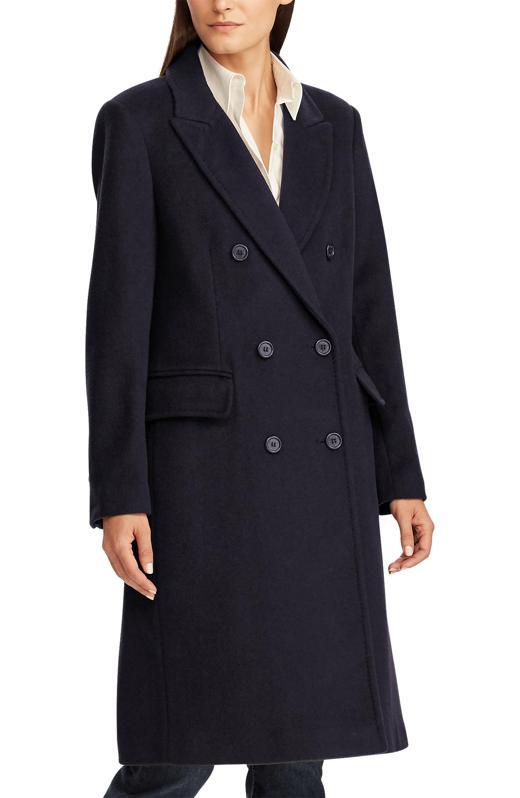 Lauren Ralph Lauren Double Breasted Wool Blend Coat (Regular & Petite)