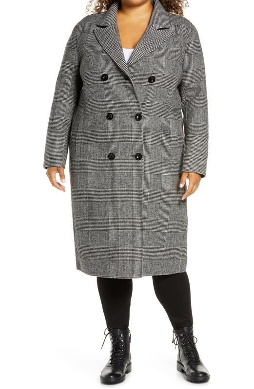 Kenneth Cole New York Houndstooth Coat (Plus Size)