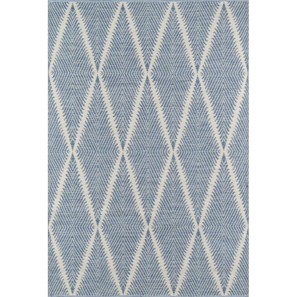 Joss & Main River Geometric Handmade Flatweave Denim Area Rug