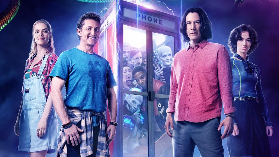 Keanu Reeves, Alex Winter, Samara Weaving and Brigette Lundy-Paine in 'Bill & Ted Face the Music'