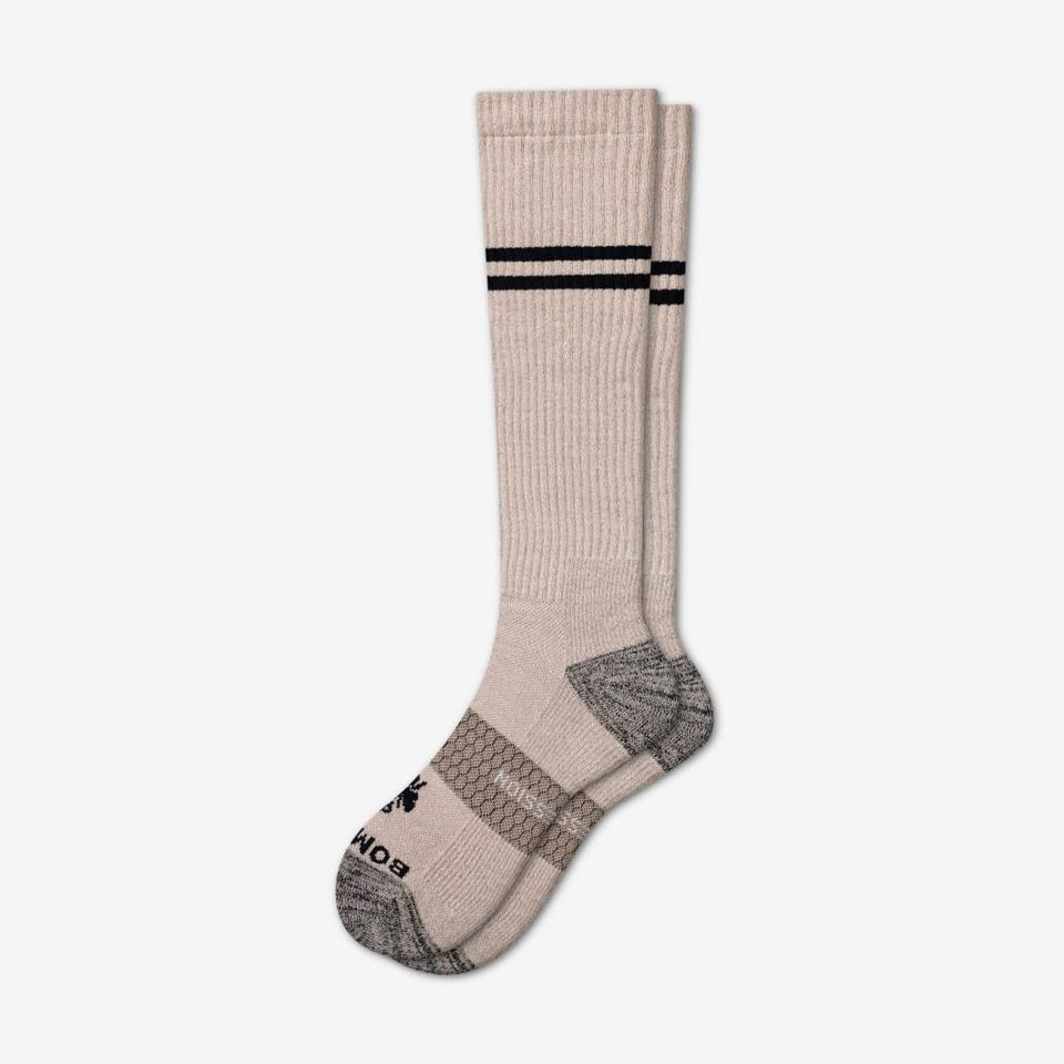 Our compression socks are made to give you a little lower-limb blood flow boost, whether you're training hard, have a long flight, or just want to enjoy the extra support of a tighter-fitting sock designed to the Bombas level of quality and comfort.   As always, one purchased = one donated.