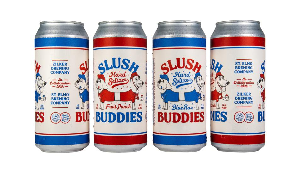 Slush Buddies cans on a white background