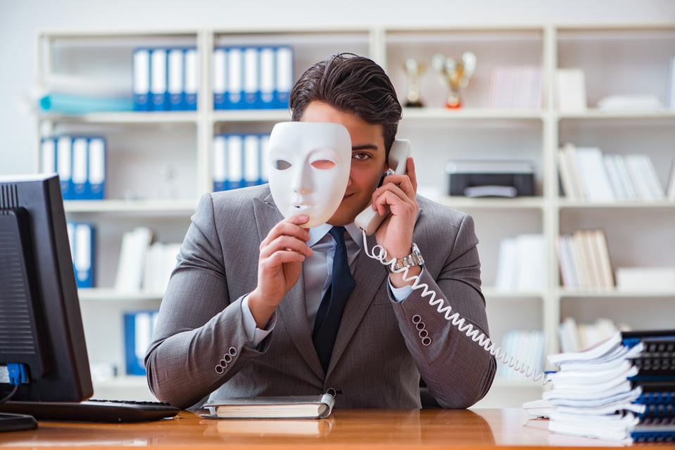 Business-person pretending to be someone he's not