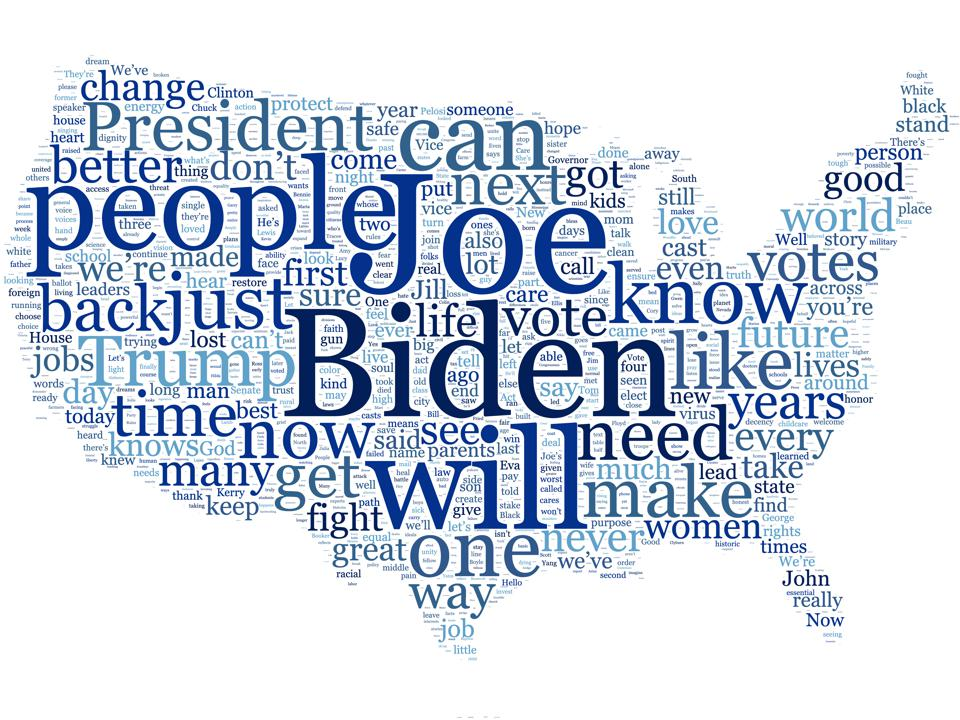 Word cloud of all terms from the Democratic National Convention. Larger words indicate more frequent words.