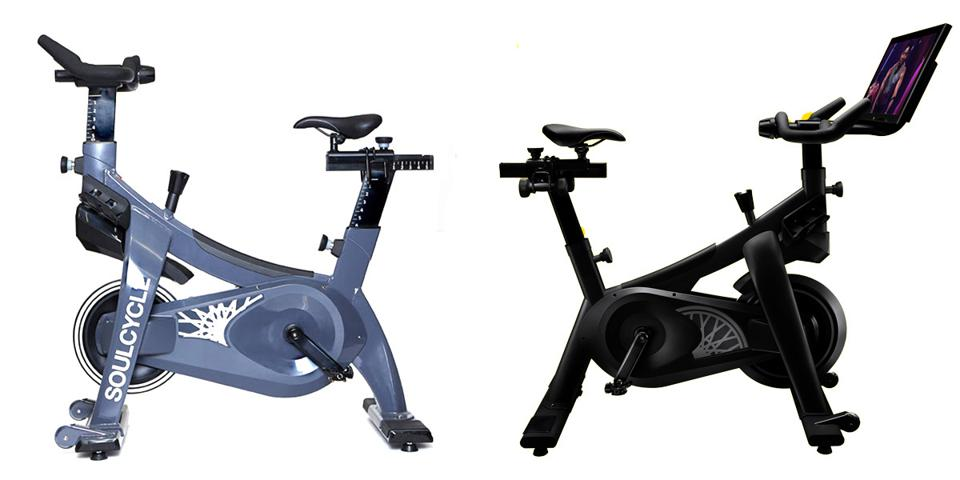 Two images of the SoulCycle Studio and At-Home bikes.