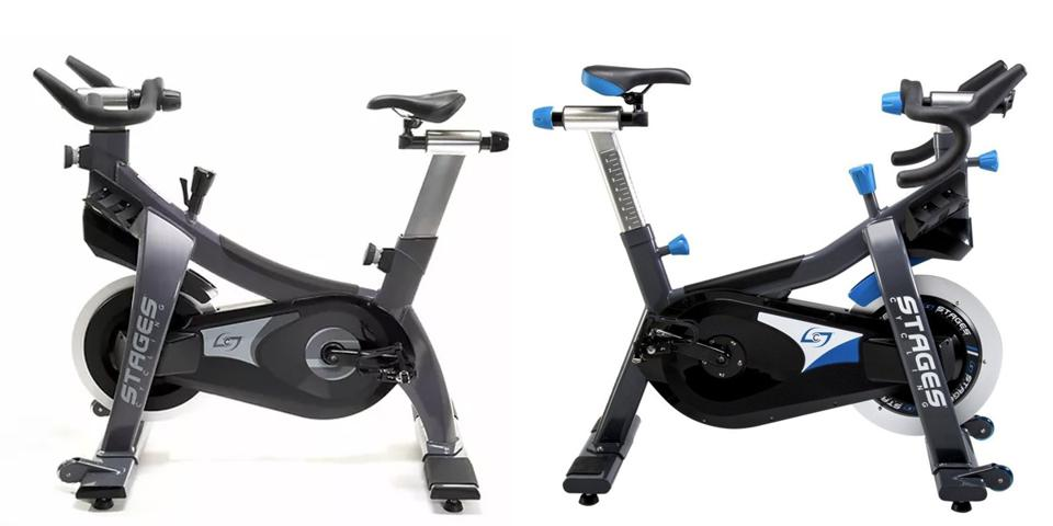 Two images of the Stages SC2 and SC1 bikes.