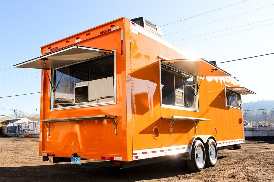 A food trailer shown ready for business