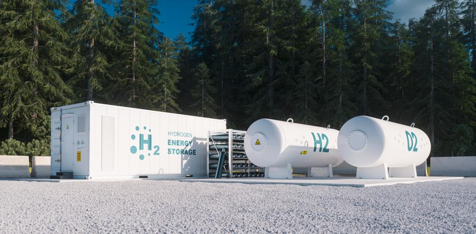Environmentally friendly solution of renewable energy storage - hydrogen gas to clean electricity facility situated in forest environment. 3d rendering.