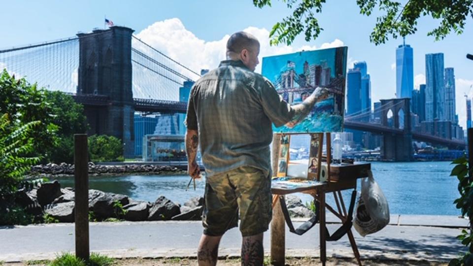 Chris Kappmeier Studio, Brooklyn Bridge, New York City, art, Vincent van Gogh Manhattan, COVID-19