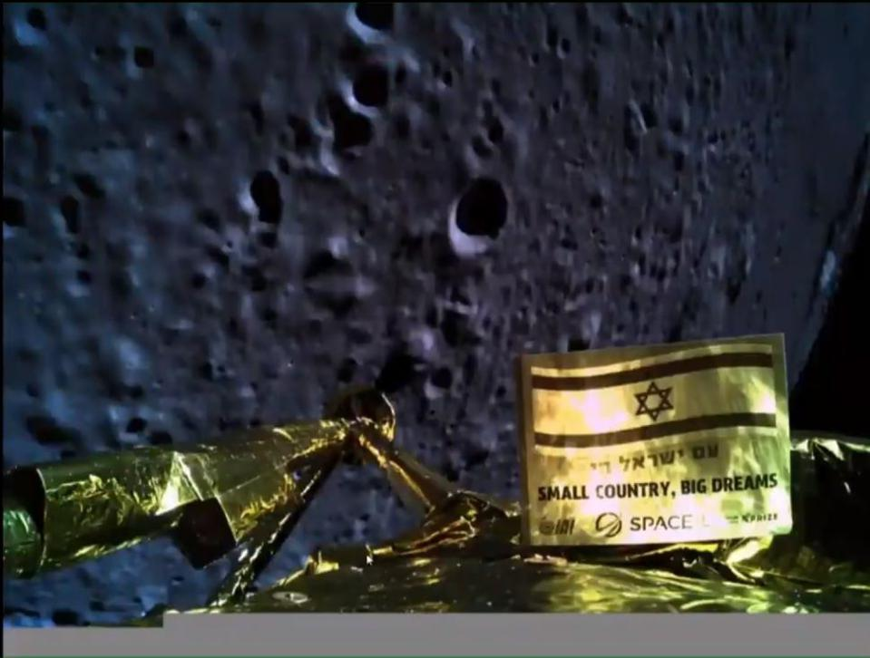 The Beresheet lunar lander captured a picture of itself and the moon below, at an altitude of 13 miles.